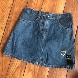 🍀 🕸Gymboree girls 9 jean skirt shorts black cat